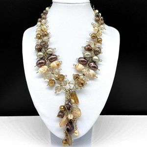 Chico's Faux Pearl Crystal Glass Beaded Necklace